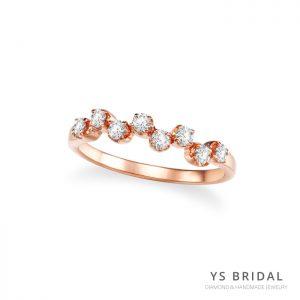永恆婚戒-復古玫瑰金小鑽線戒