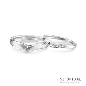 結婚對戒-V字線條鉑金對戒