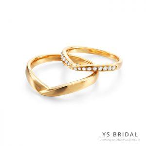 結婚對戒-V字極簡線條黃K金對戒