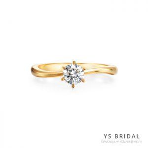 黃K金訂婚鑽戒-極簡線條鑽戒