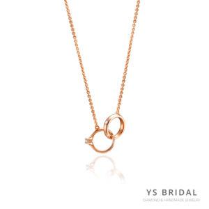 玫瑰金項鍊-極簡小鑽戒項鍊