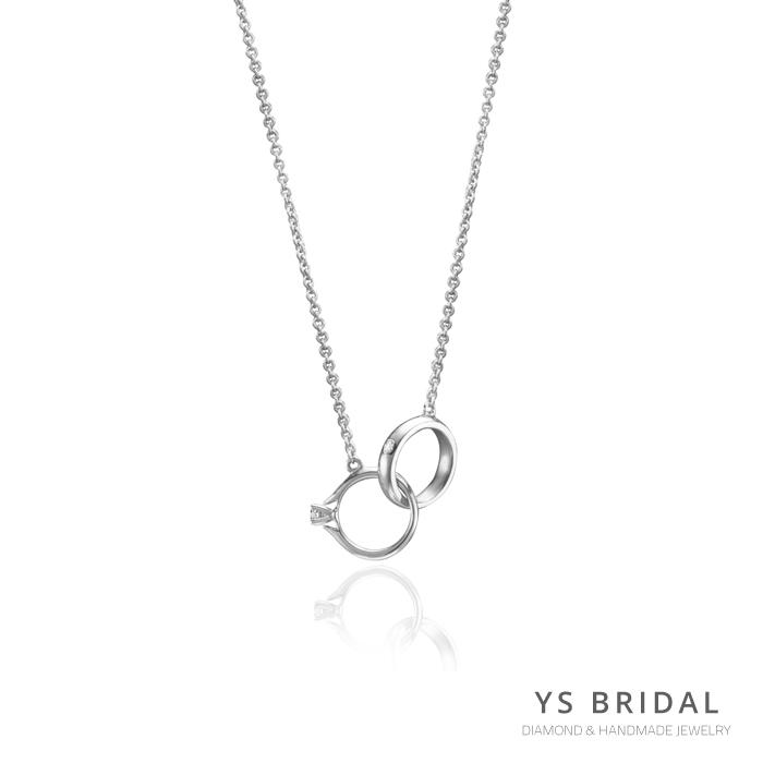 鉑金項鍊-極簡小鑽戒項鍊