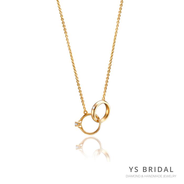 黃K金項鍊-極簡小鑽戒項鍊