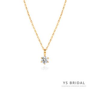 單鑽項鍊-黃K金六爪單鑽項鍊