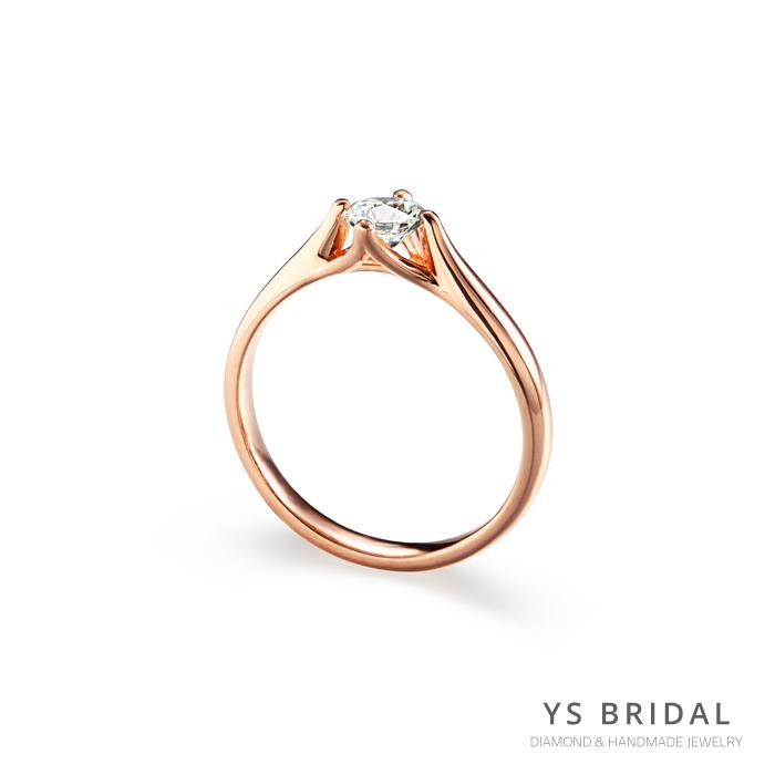 玫瑰金訂婚鑽戒-流線四爪玫瑰金鑽戒