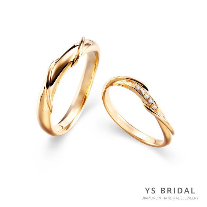 黃K金結婚對戒-扭轉線條黃K金對戒