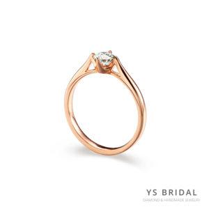 玫瑰金鑽戒-極簡四爪訂婚鑽戒
