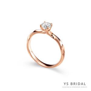 玫瑰金鑽戒-扭轉線條訂婚鑽戒