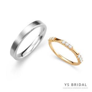 結婚對戒-素面鉑金對戒、黃K金對戒