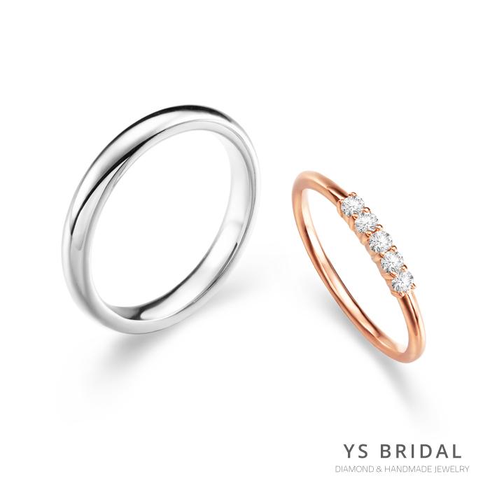 結婚對戒-素面鉑金戒、玫瑰金線戒