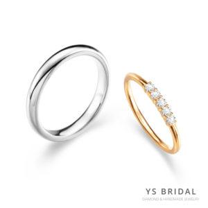 結婚對戒-素面鉑金戒、黃K金線戒