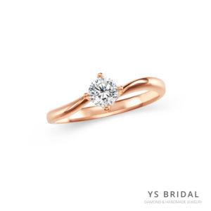 玫瑰金鑽戒-極簡線條四爪鑽戒