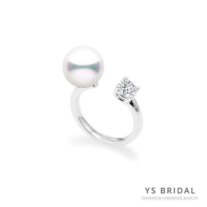 鉑金戒指訂做-珍珠鑽石戒