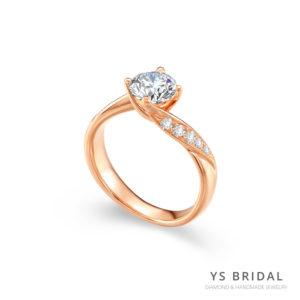 訂婚鑽戒-一克拉奢華玫瑰金鑽戒