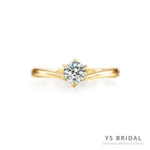 求婚鑽戒-V字線條黃K金鑽戒