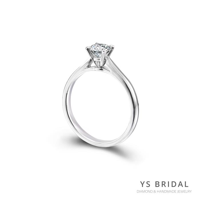 求婚鑽戒-流線四爪鉑金鑽戒