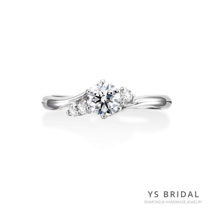 求婚鑽戒-線條六爪鉑金鑽戒