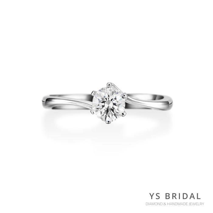 訂婚鑽戒-流線六爪鉑金鑽戒