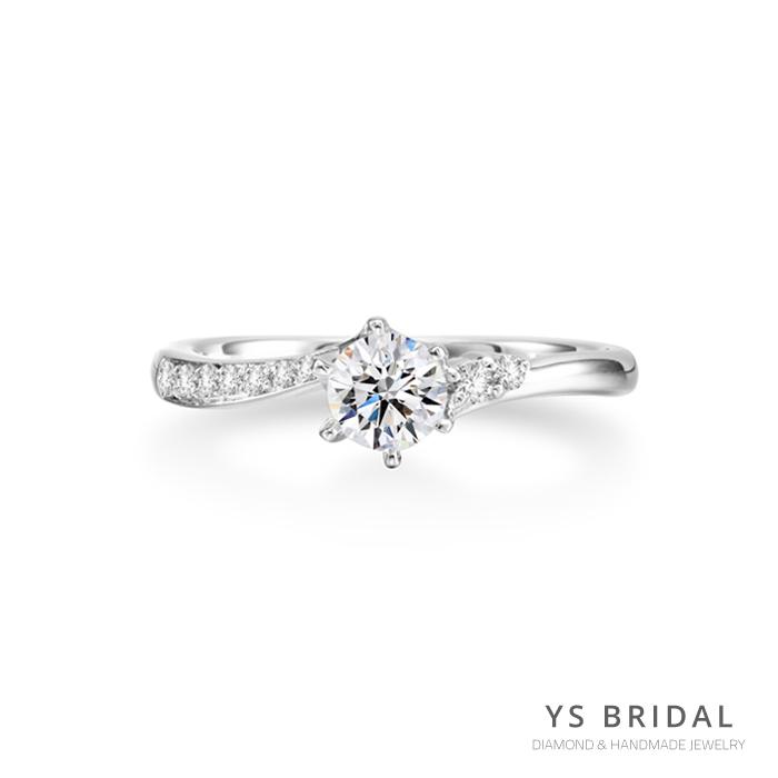 訂婚鑽戒-日系流線六爪鉑金鑽戒