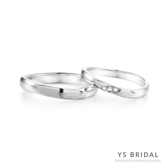 鉑金對戒-素面流線型結婚對戒