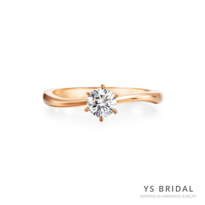 玫瑰金訂婚鑽戒-極簡線條鑽戒