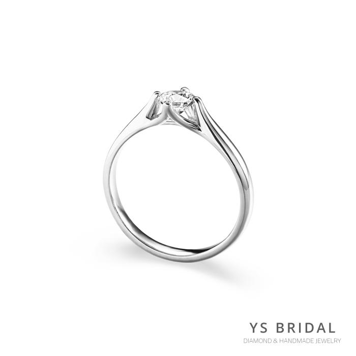 鉑金訂婚鑽戒-流線四爪鉑金鑽戒