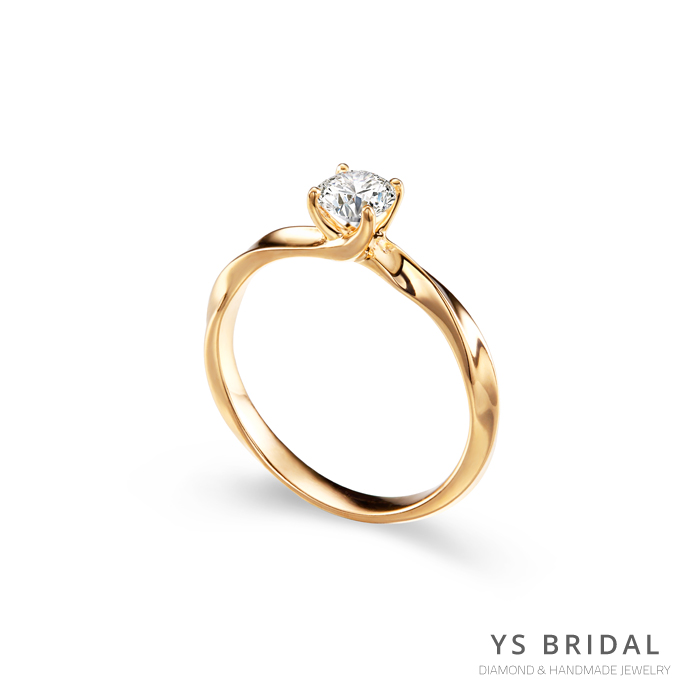 黃K金鑽戒-扭轉線條訂婚鑽戒