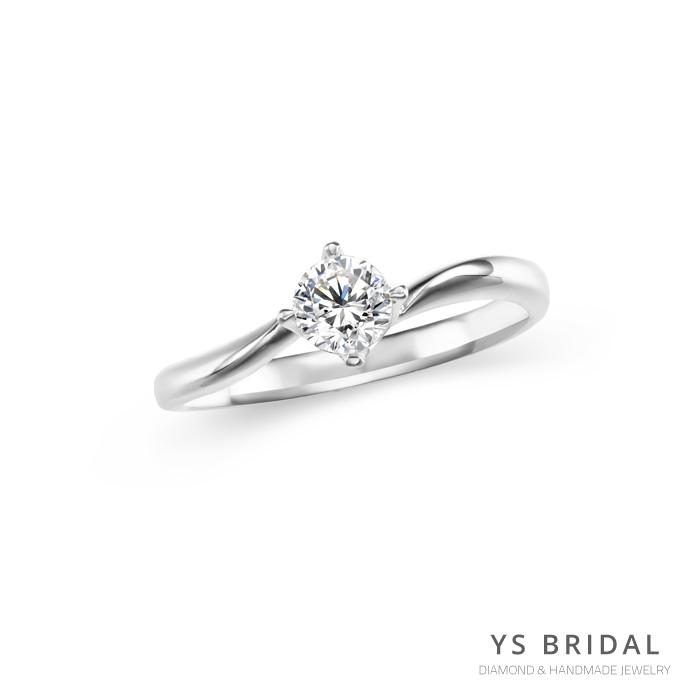 鉑金鑽戒-極簡線條四爪鑽戒