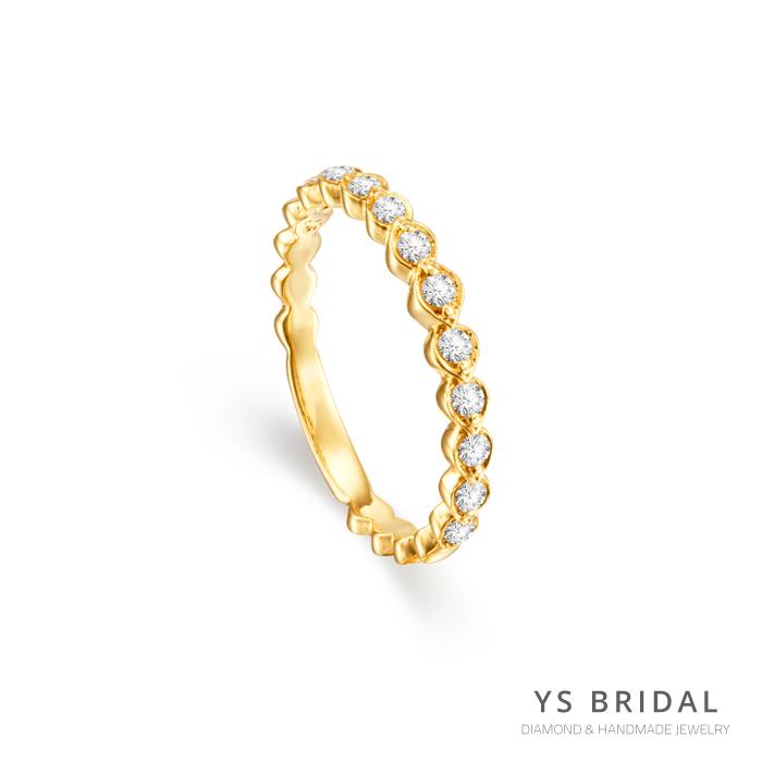 結婚線戒-橢圓鑽座黃K金線戒