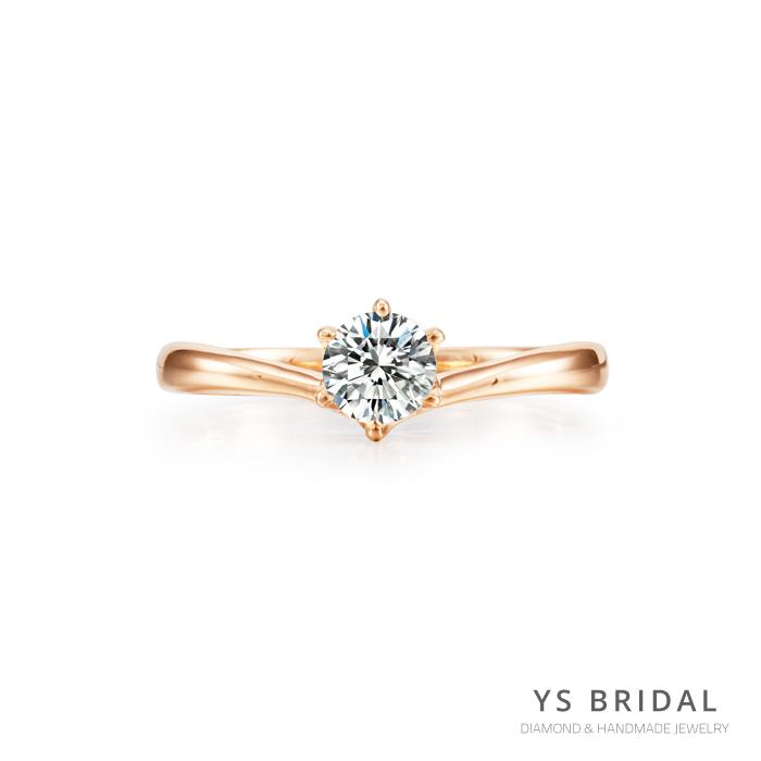 求婚鑽戒-V字線條玫瑰金鑽戒