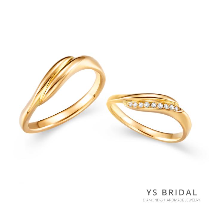 結婚對戒-日系流線線條黃K金對戒